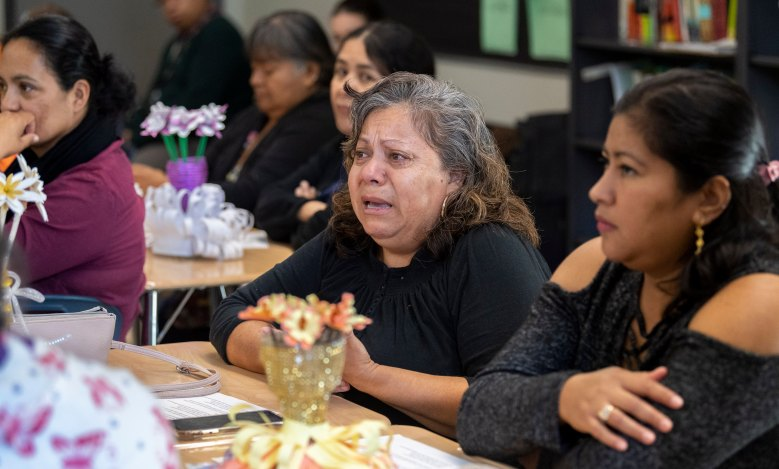 "Mary Feliciano tears up while recounting a story during the class ""Traumatic Stress Caused by Immigration Law"" presented by the Los Angeles Department of Mental Health in Los Angeles, CA on Monday, November 4, 2019. Feliciano was telling how her daughter, who is a citizen, faced racism because of her heritage. (Photo by Paul Bersebach, Orange County Register/SCNG)"