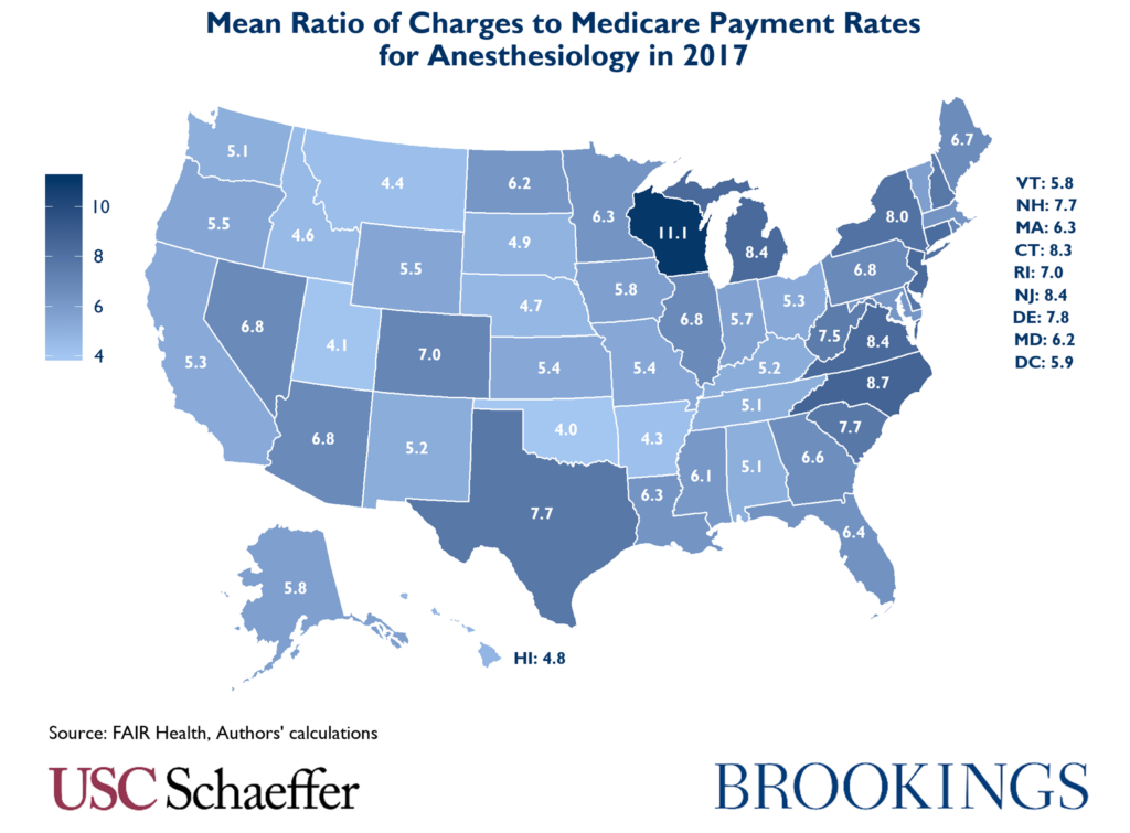Mean Ratio of Charges to Medicare Payment Rates for Anesthesiology in 2017